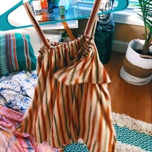 cold shoulder boho stripe shift gypsy top